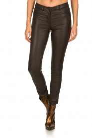 Arma |  Leather stretch pants Brandice | brown  | Picture 2