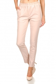 Est-Seven |  Leather stretch pants Butter | nude  | Picture 3