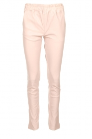 Est-Seven |  Leather stretch pants Butter | nude  | Picture 1