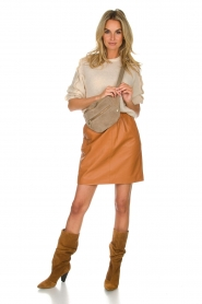Est-Seven | Leather skirt Mylenna | camel  | Picture 3