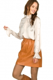 Est-Seven | Leather skirt Mylenna | camel  | Picture 2