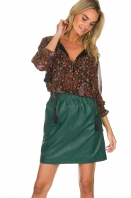 Est-Seven | Leather skirt Mylenna | green  | Picture 2