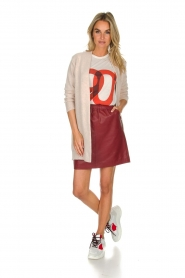 Est-Seven | Leather skirt Mylenna | burgundy  | Picture 3