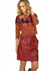 Est-Seven | Leather skirt Mylenna | burgundy  | Picture 2