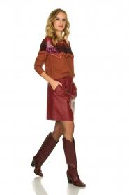 Est-Seven | Leather skirt Mylenna | burgundy  | Picture 3