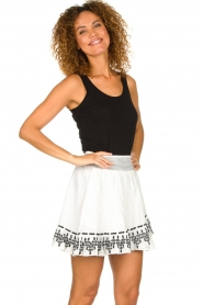 Aaiko |  Embroidered skirt Patna | white  | Picture 4