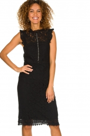 Aaiko |  Lace dress Lonne | black  | Picture 2