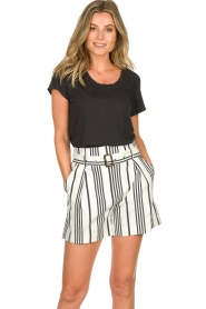 Aaiko |  Striped shorts Iza | white  | Picture 2