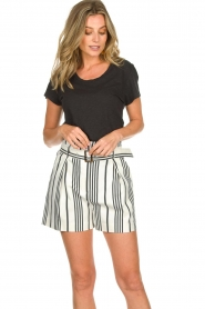 Aaiko |  Striped shorts Iza | white  | Picture 4