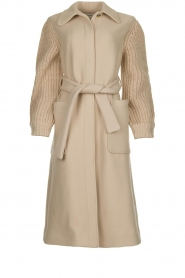 ba&sh |  Long coat with knitted sleeves Calas | beige  | Picture 1