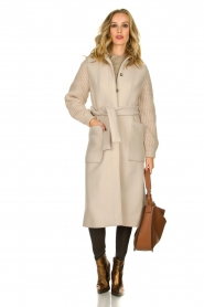 ba&sh |  Long coat with knitted sleeves Calas | beige  | Picture 3