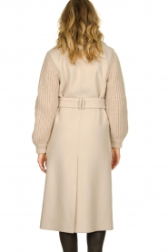 ba&sh |  Long coat with knitted sleeves Calas | beige  | Picture 5