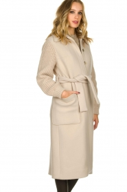 ba&sh |  Long coat with knitted sleeves Calas | beige  | Picture 4
