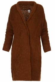 Knit-ted |  Knitted cardigan with buttons Babette | brown  | Picture 1
