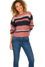 Knit-ted |  Striped sweater Billie | pink  | Picture 3