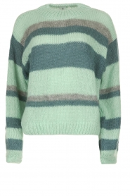 Knit-ted |  Striped sweater Billie | mint  | Picture 1
