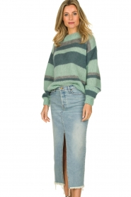 Knit-ted |  Striped sweater Billie | mint  | Picture 4
