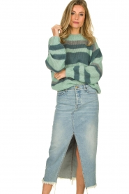 Knit-ted |  Striped sweater Billie | mint  | Picture 2