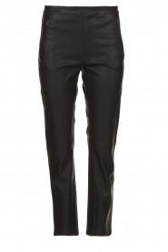 Knit-ted |   Pants with leather look Alix | black  | Picture 1