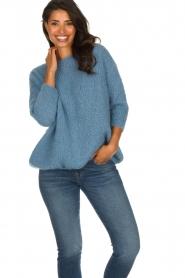 American Vintage | Grof gebreide trui Boolder | blauw  | Afbeelding 2