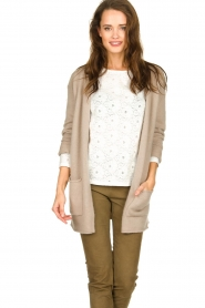 American Vintage |  Cardigan with open pockets Gogojet | beige  | Picture 2
