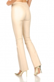 Est-Seven | Leather flared pants Meredith | nude   | Picture 5