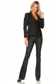 Est-Seven |  Flared leather stretch pants Meredith | black  | Picture 3