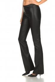 Est-Seven |  Flared leather stretch pants Meredith | black  | Picture 2