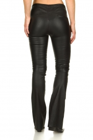 Est-Seven |  Flared leather stretch pants Meredith | black  | Picture 5