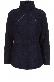 Rabens Saloner |  Ajour sweater Beate | blue  | Picture 1