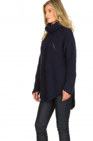 Rabens Saloner |  Ajour sweater Beate | blue  | Picture 4