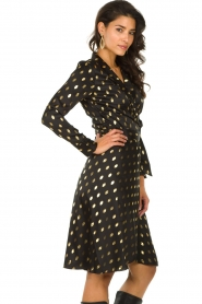 Freebird |  Midi dress with gold-colored dots Isaya | black  | Picture 4