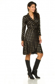 Freebird |  Midi dress with gold-colored dots Isaya | black  | Picture 3