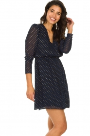 Freebird |  Dress with gold-colored dots Evia | blue  | Picture 4