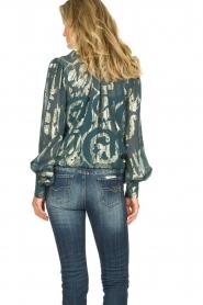 Dante 6 |  SIlk blouse with lurex pattern Celebration | green  | Picture 5