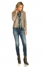 Dante 6 |  SIlk blouse with lurex pattern Celebration | green  | Picture 3