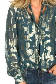 Dante 6 |  SIlk blouse with lurex pattern Celebration | green  | Picture 6