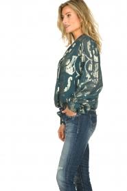 Dante 6 |  SIlk blouse with lurex pattern Celebration | green  | Picture 4