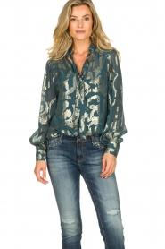 Dante 6 |  SIlk blouse with lurex pattern Celebration | green  | Picture 2