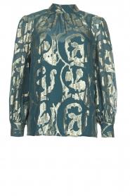 Dante 6 |  SIlk blouse with lurex pattern Celebration | green  | Picture 1