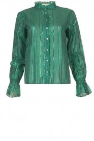 Les Favorites |  Lurex striped blouse Inge | green  | Picture 1