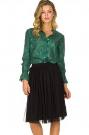 Les Favorites |  Lurex striped blouse Inge | green  | Picture 2