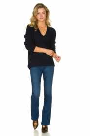 Les Favorites |  Knitted V-neck sweater Fenne | blue  | Picture 3