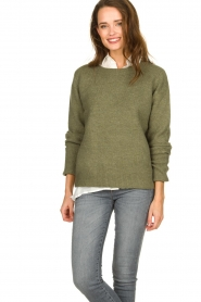 JC Sophie |  Sweater with turned over sleeves Brianna | green  | Picture 2