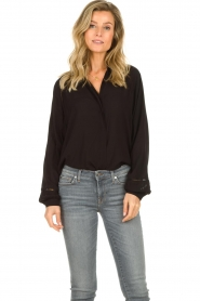 JC Sophie |  Blouse with wide ajour sleeves Bless | black  | Picture 2