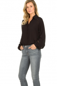 JC Sophie |  Blouse with wide ajour sleeves Bless | black  | Picture 5