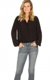JC Sophie |  Blouse with wide ajour sleeves Bless | black  | Picture 4
