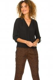 Kocca |  Wrap blouse Guase | black   | Picture 2