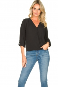 Kocca |  Wrap blouse Guase | black   | Picture 2