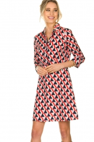 Kocca |  Printed dress Yoel | red  | Picture 2